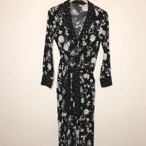 Zara floral print long sleeve jumpsuit size XS